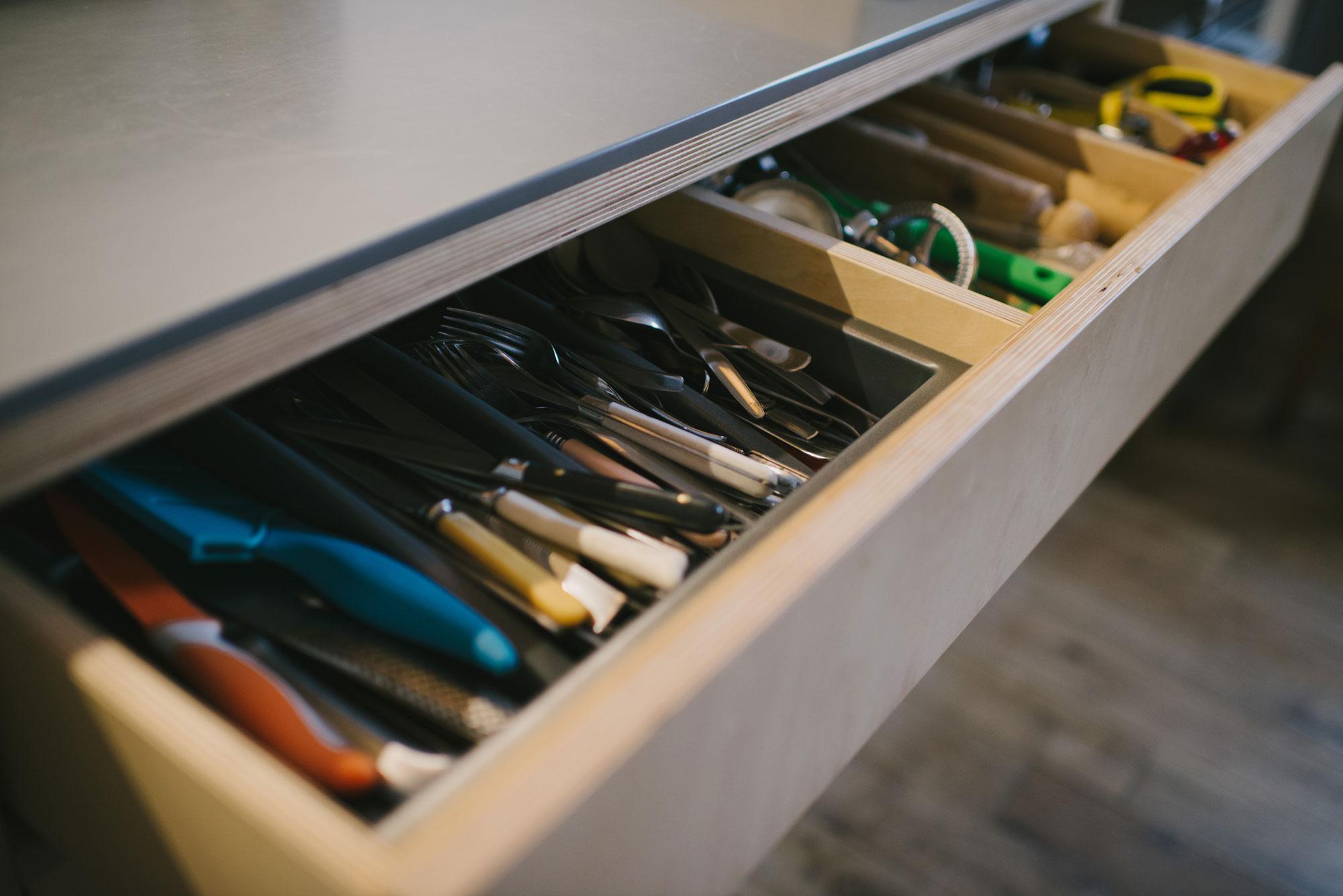 Birch ply kitchen cutlery drawer