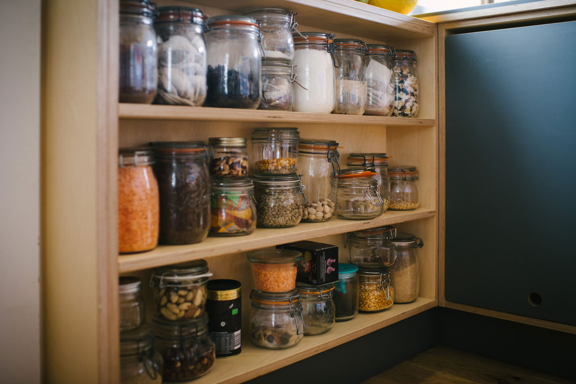 Birch ply kitchen pantry shelves.