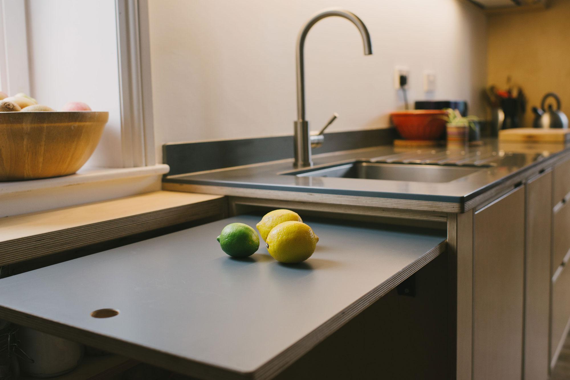 Birch ply kitchen extending worksurface