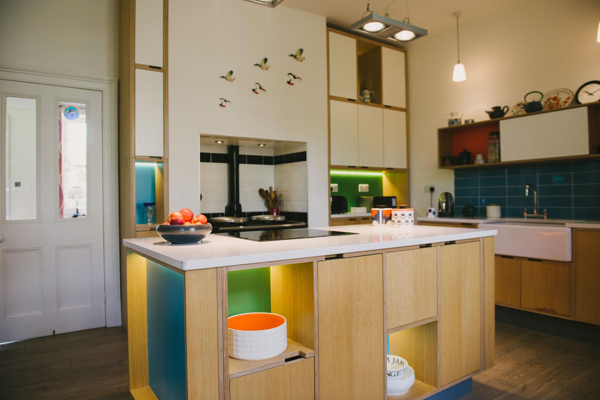 blue & orange & green kitchen