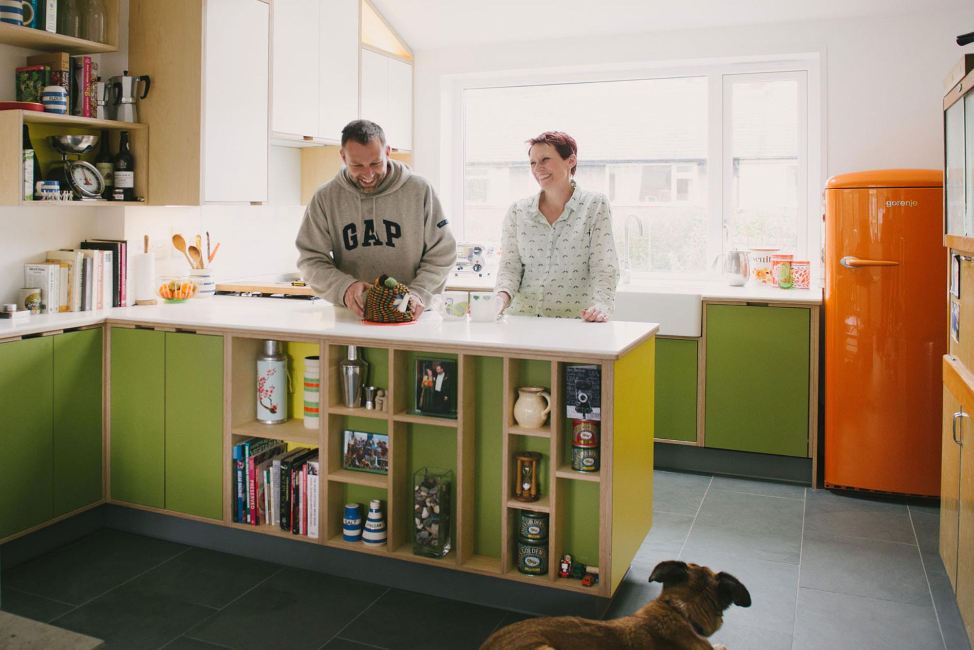 Green & yellow plywood kitchen