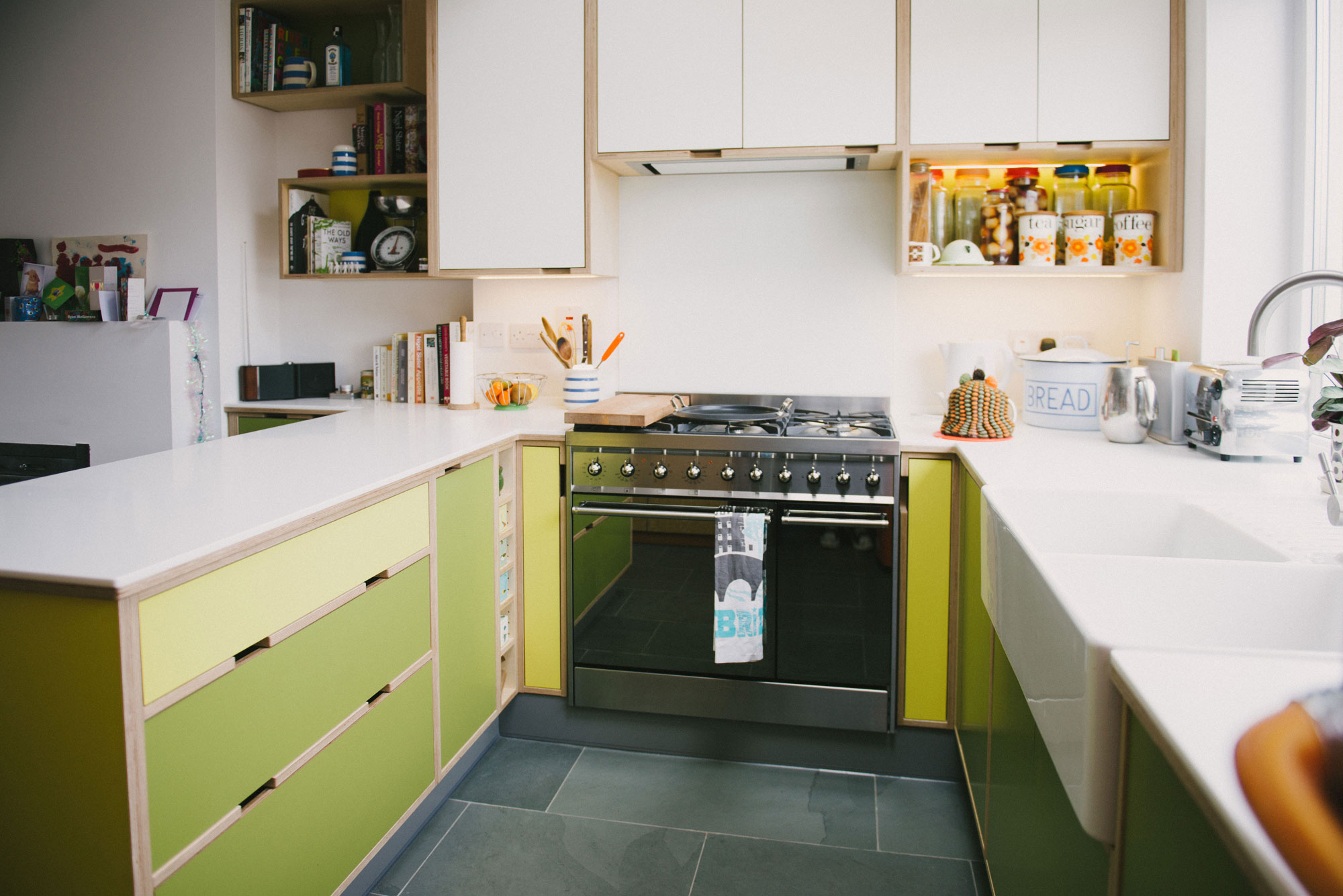 Green & yellow kitchen - integrated oven