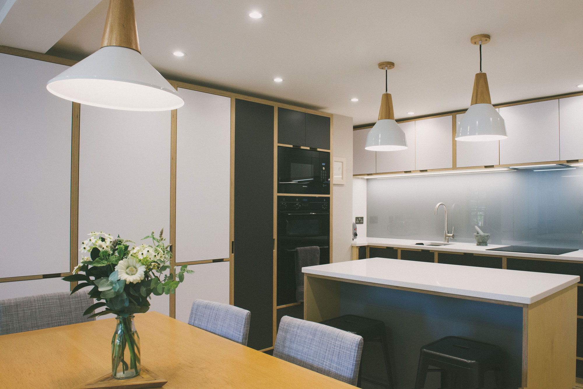 Grey and white kitchen - made of laminate face plywood