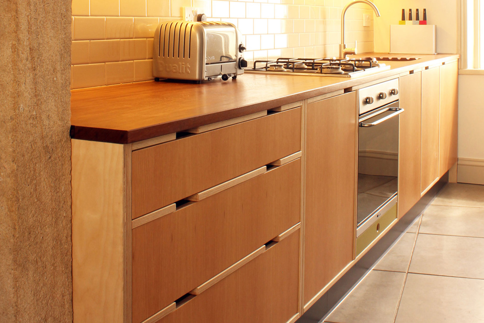 Oak veneered kitchen drawers