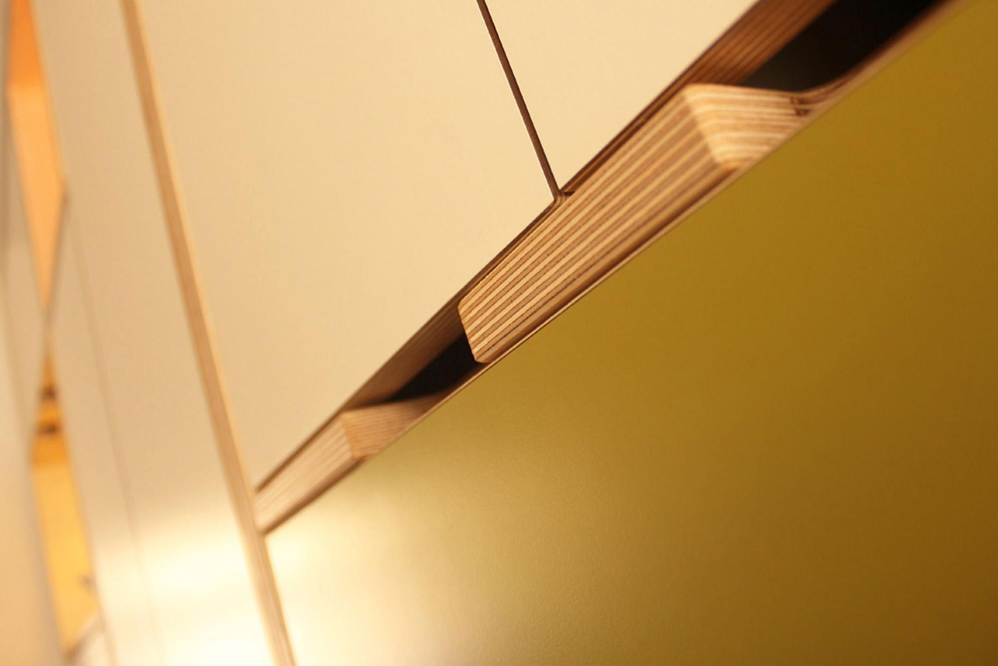 Plywood kitchen door detail
