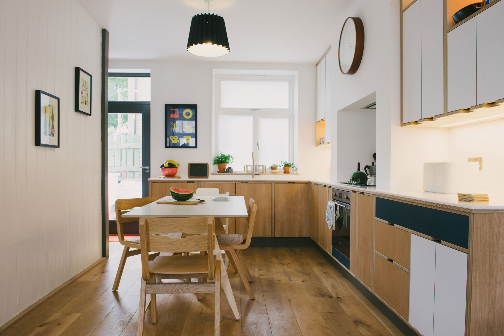 Plywood Kitchen - Blue and Oak