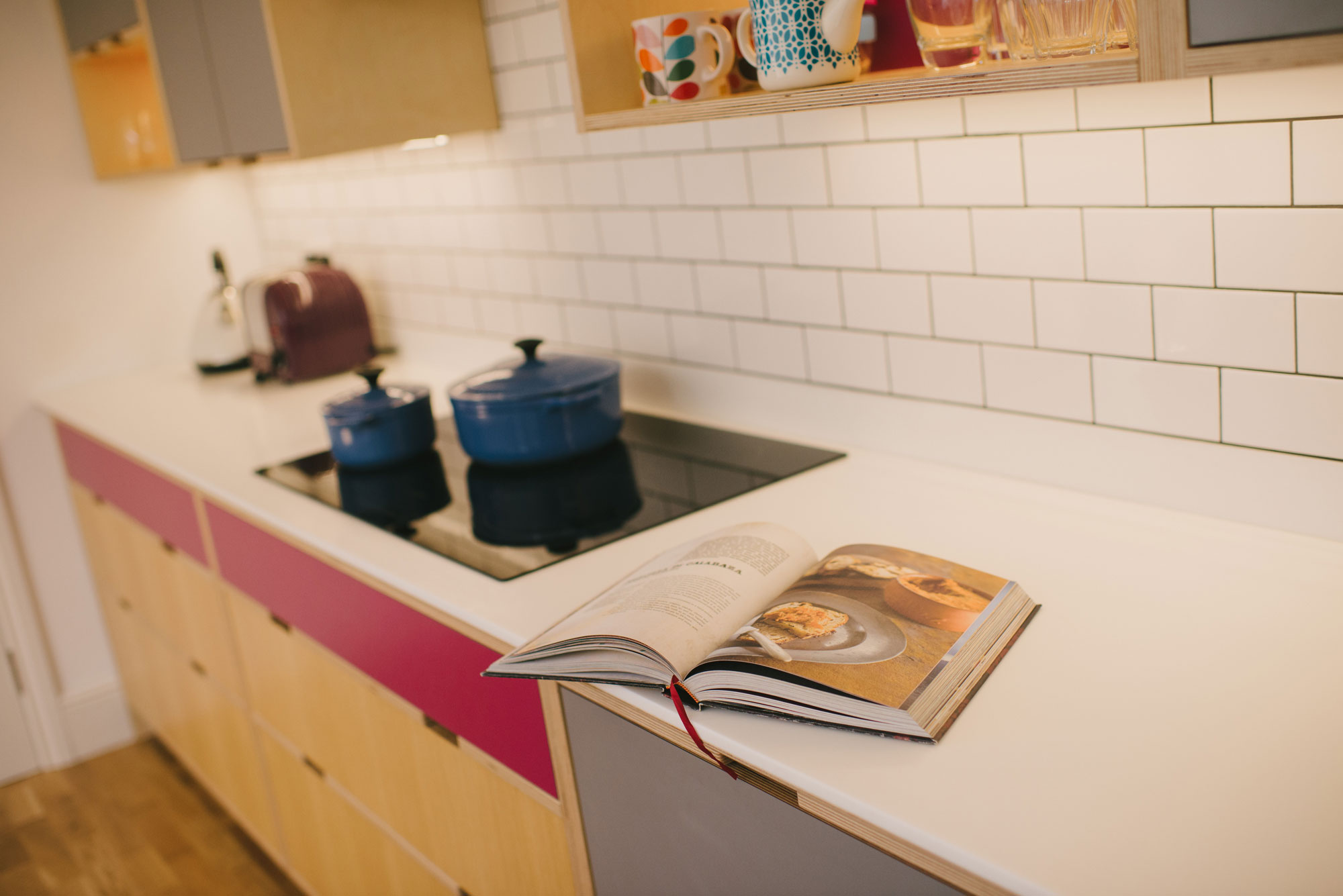 Corian worktop of pink and grey plywood kitchen
