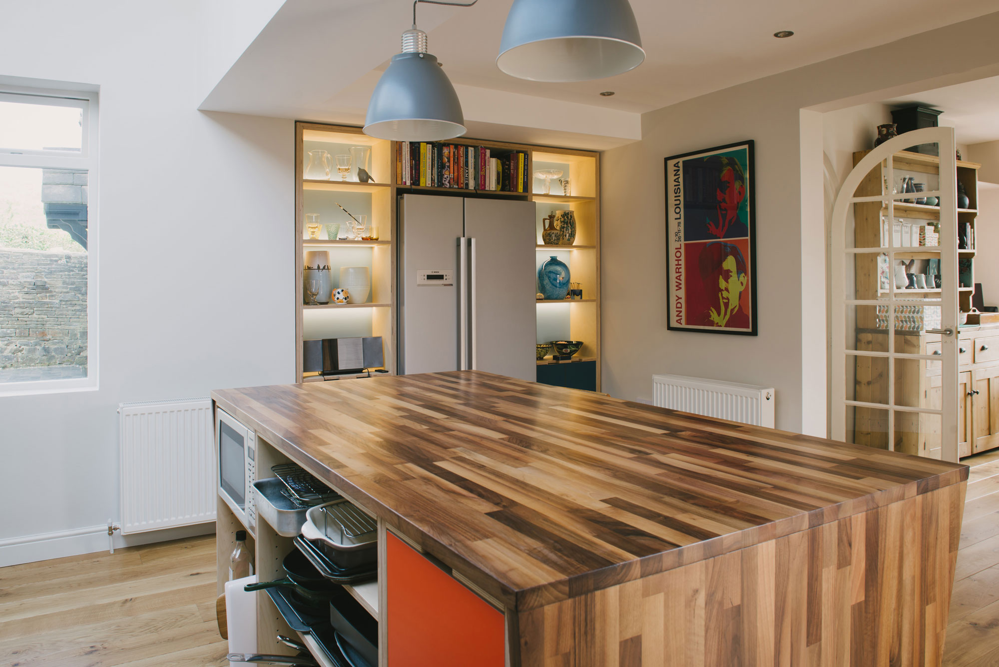 Plywood kitchen with walnut island