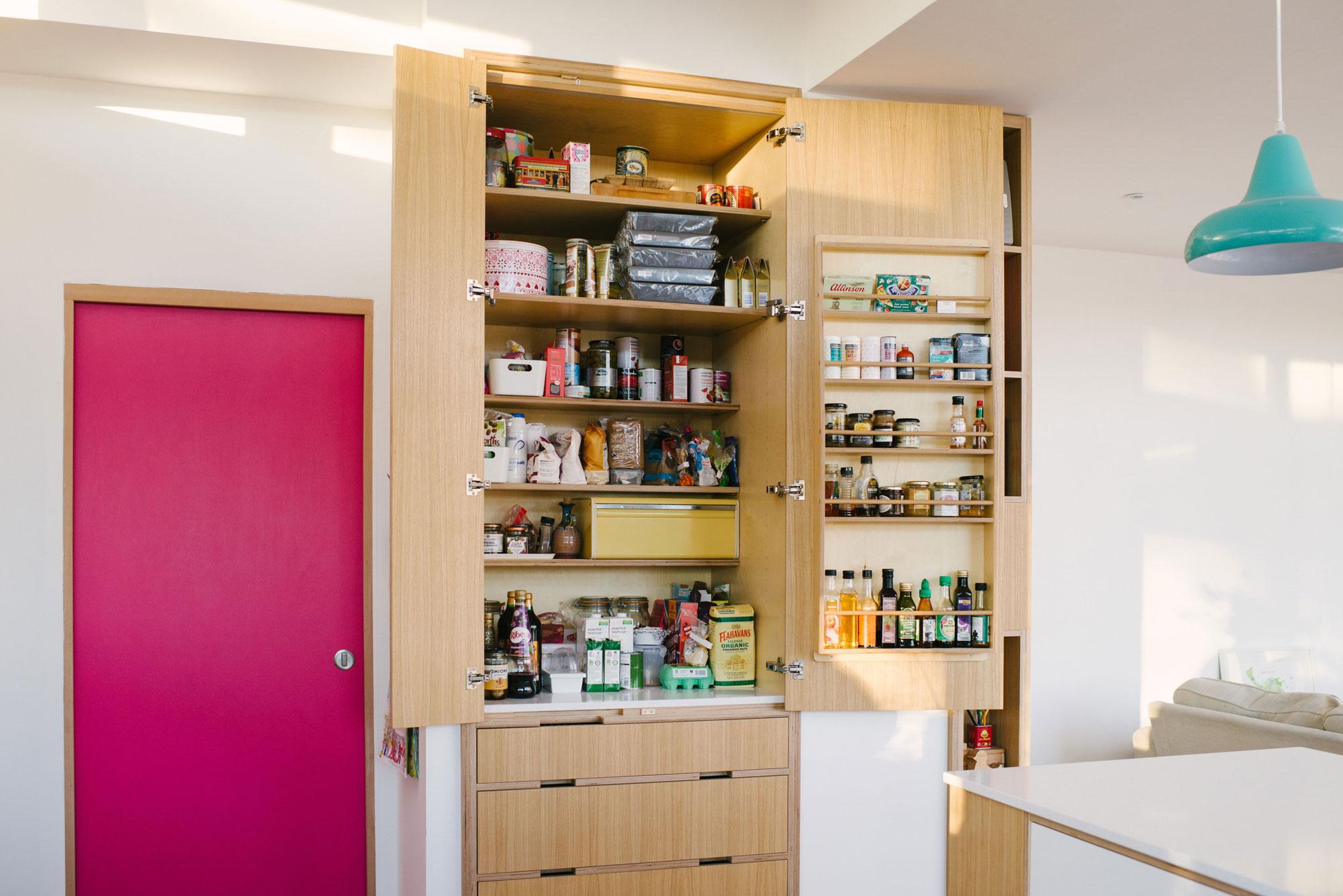 Open Oak Laminated Larder Cupboard