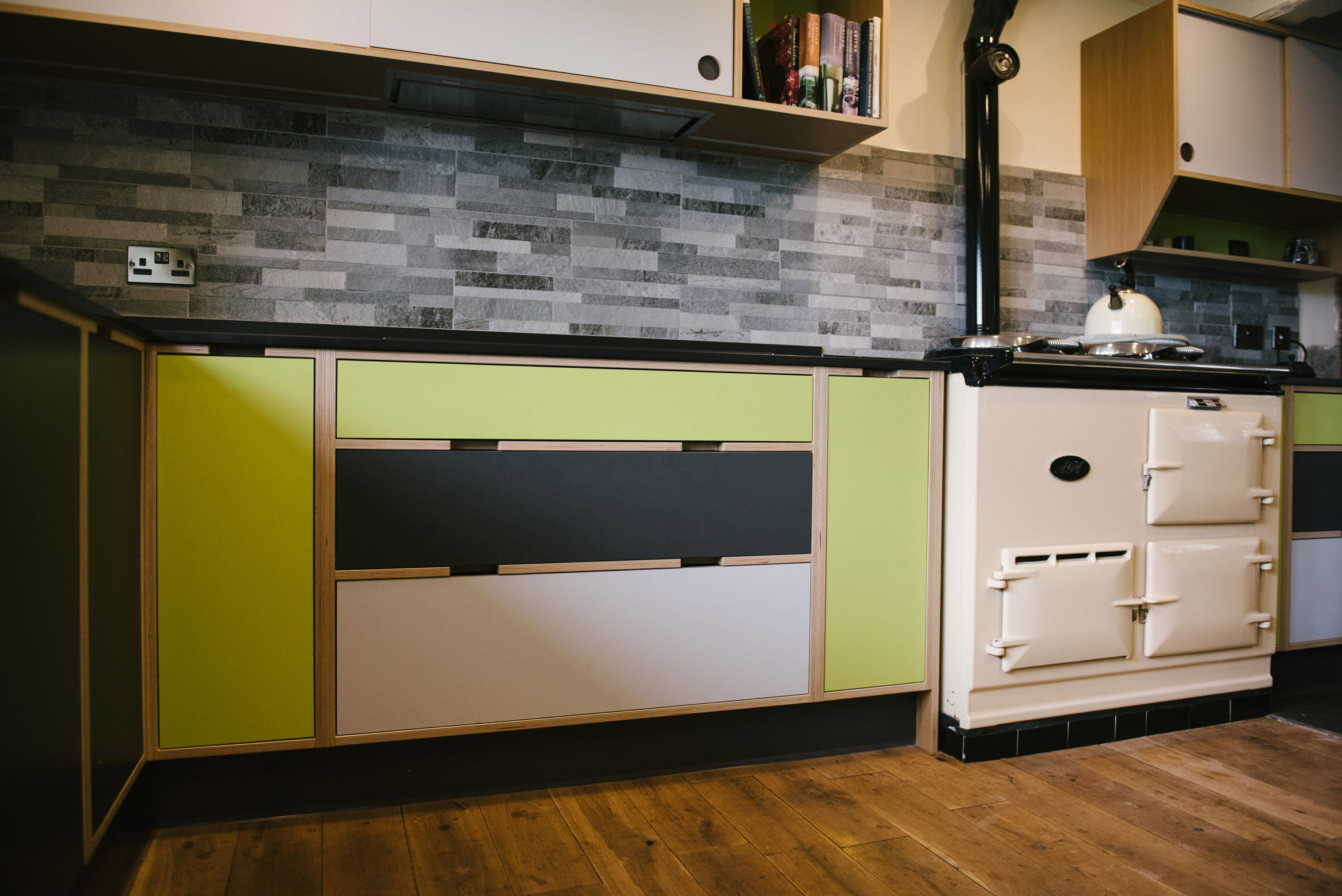 Green Plywood Kitchen