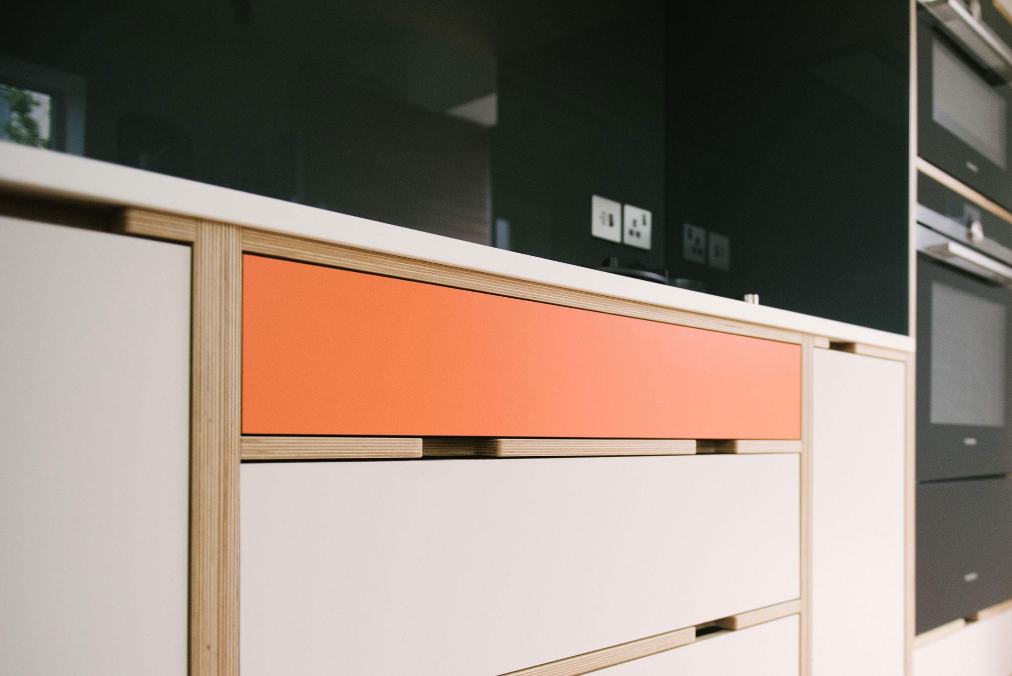 Mid Century Style Plywood Kitchen - Orange and White Drawer Unit