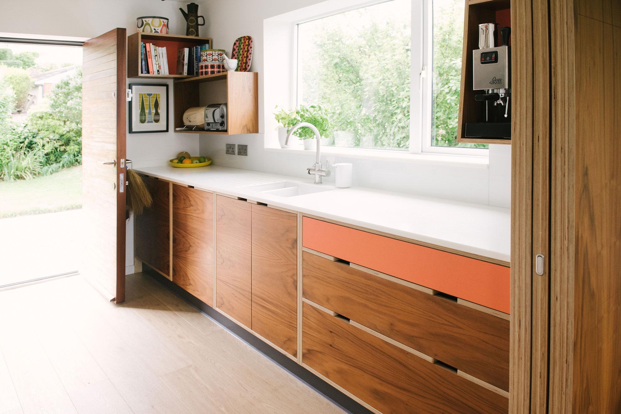 Mid Century Style Plywood Kitchen - Walnut Veneer and Orange Kitchen