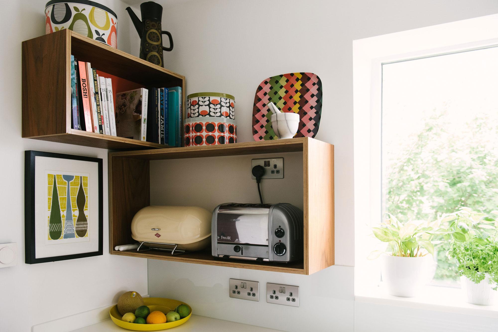 Mid Century Style Open Kitchen Shelving