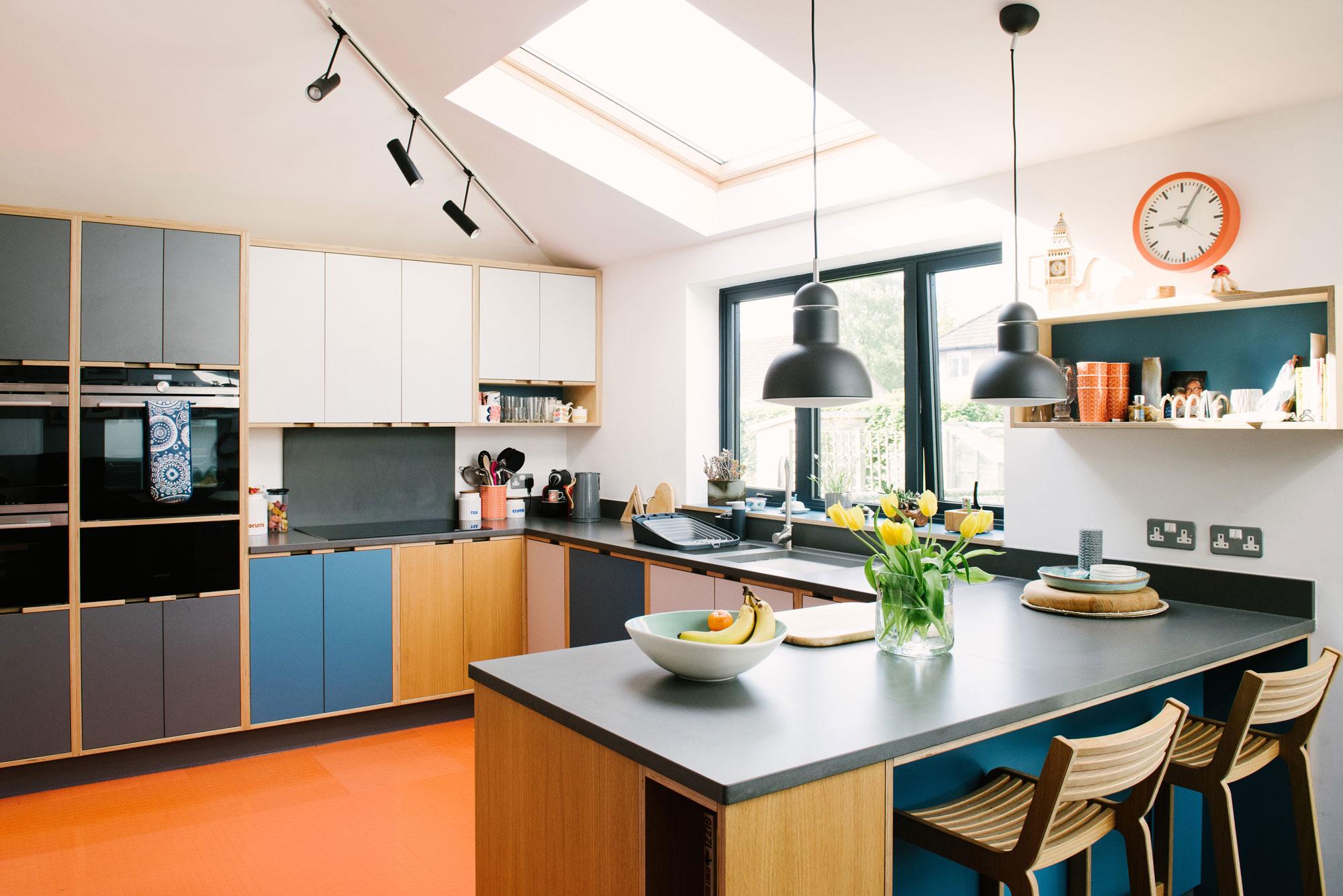 Plywood Kitchen With Orange Floor