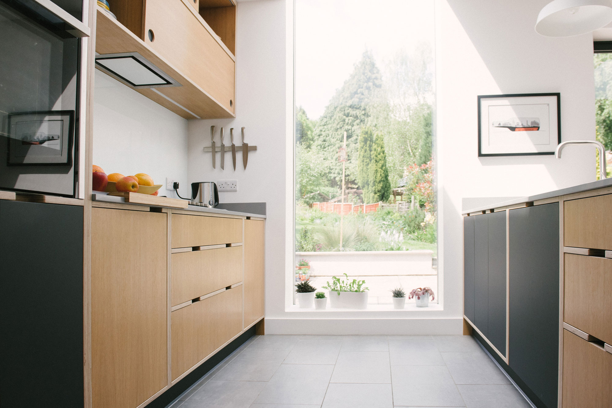 Black And Oak Plywood Kitchen Wood Wire Sheffield