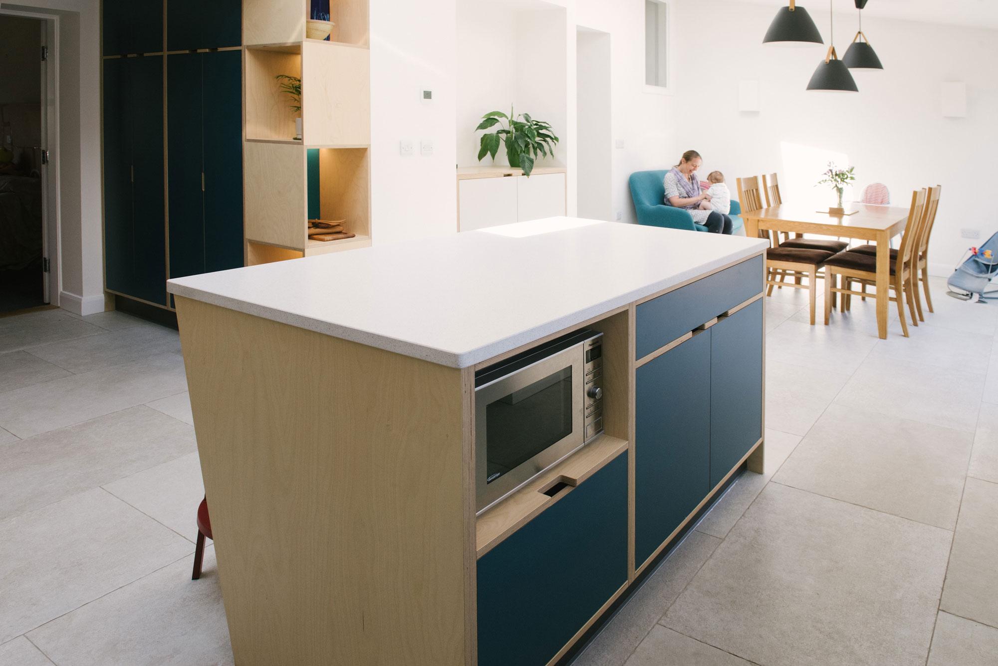 Modern Blue Kitchen Island