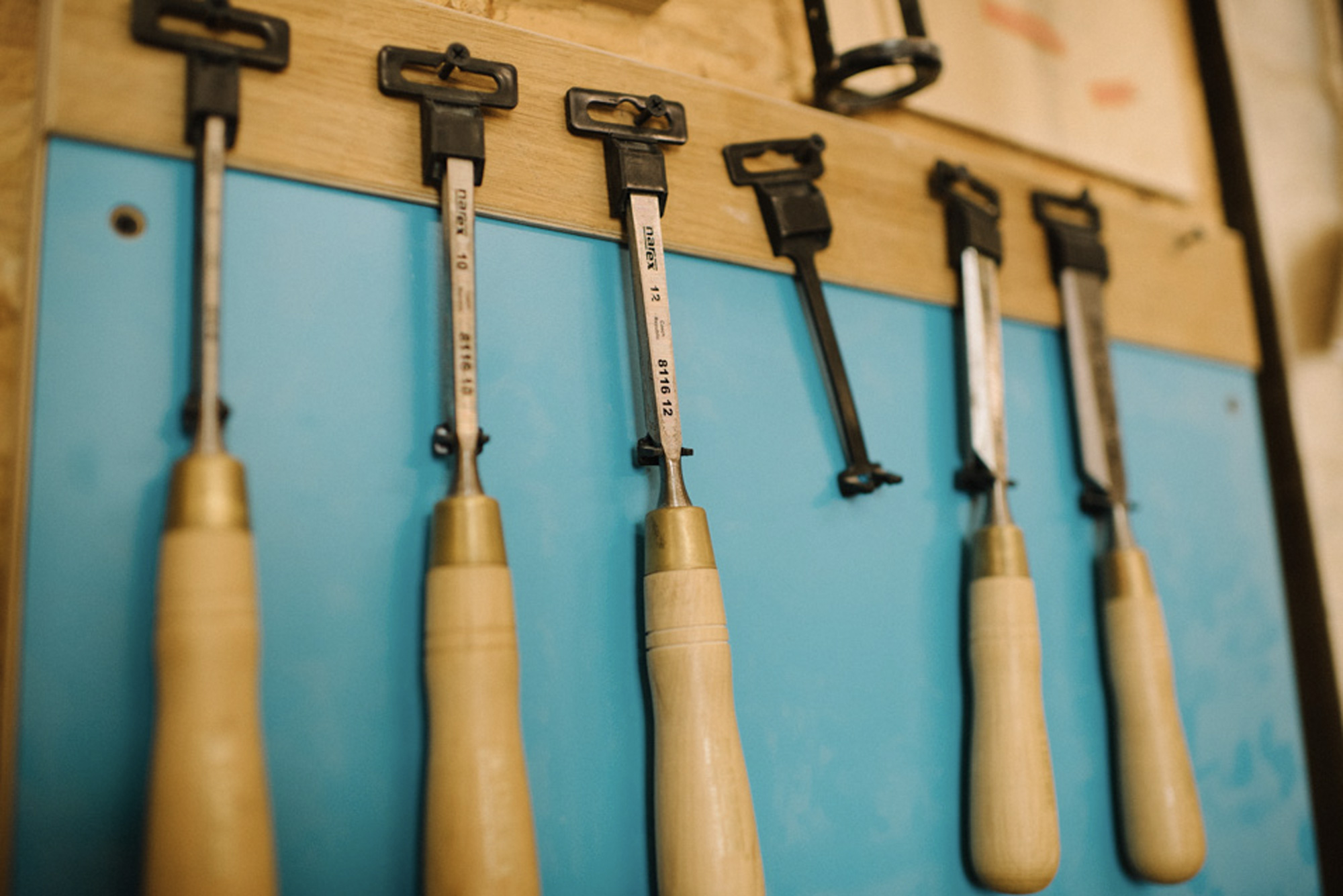 Woodworking tools on the wall