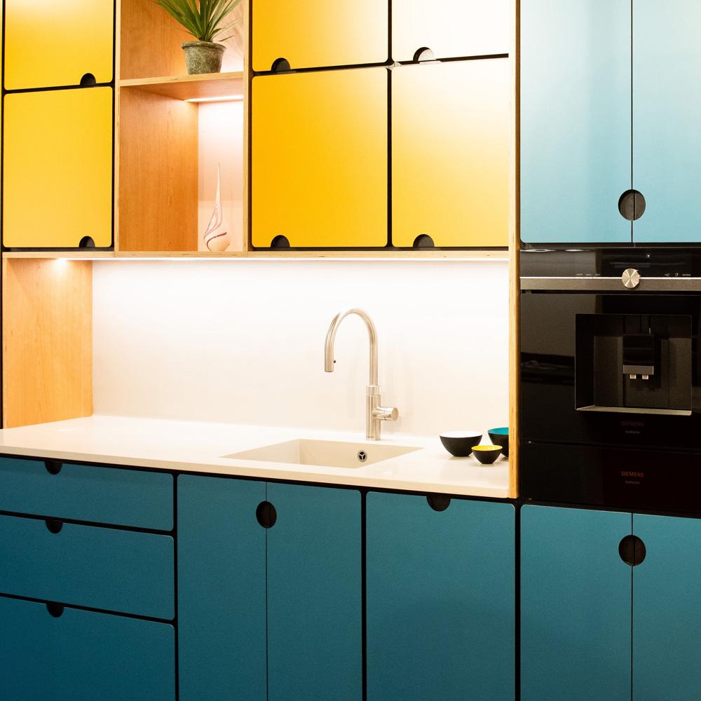 under cupboard lighting in valchromat kitchen