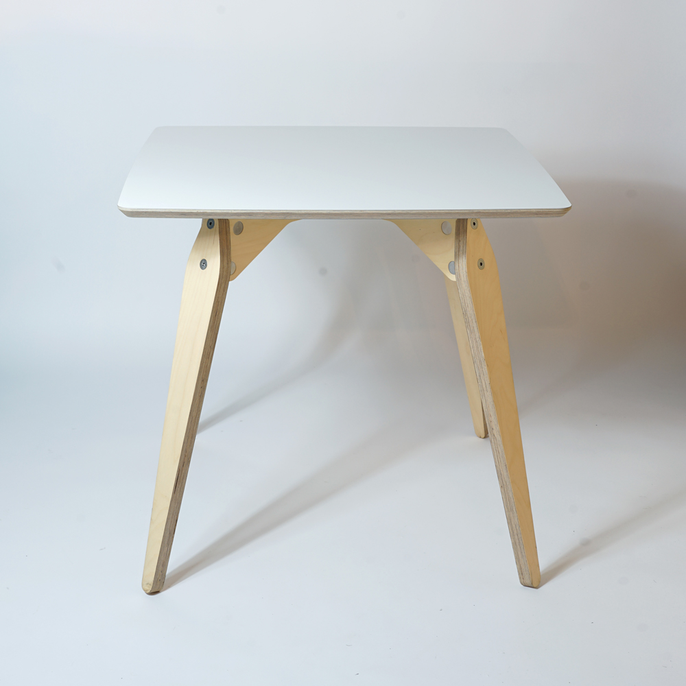white plywood dining table