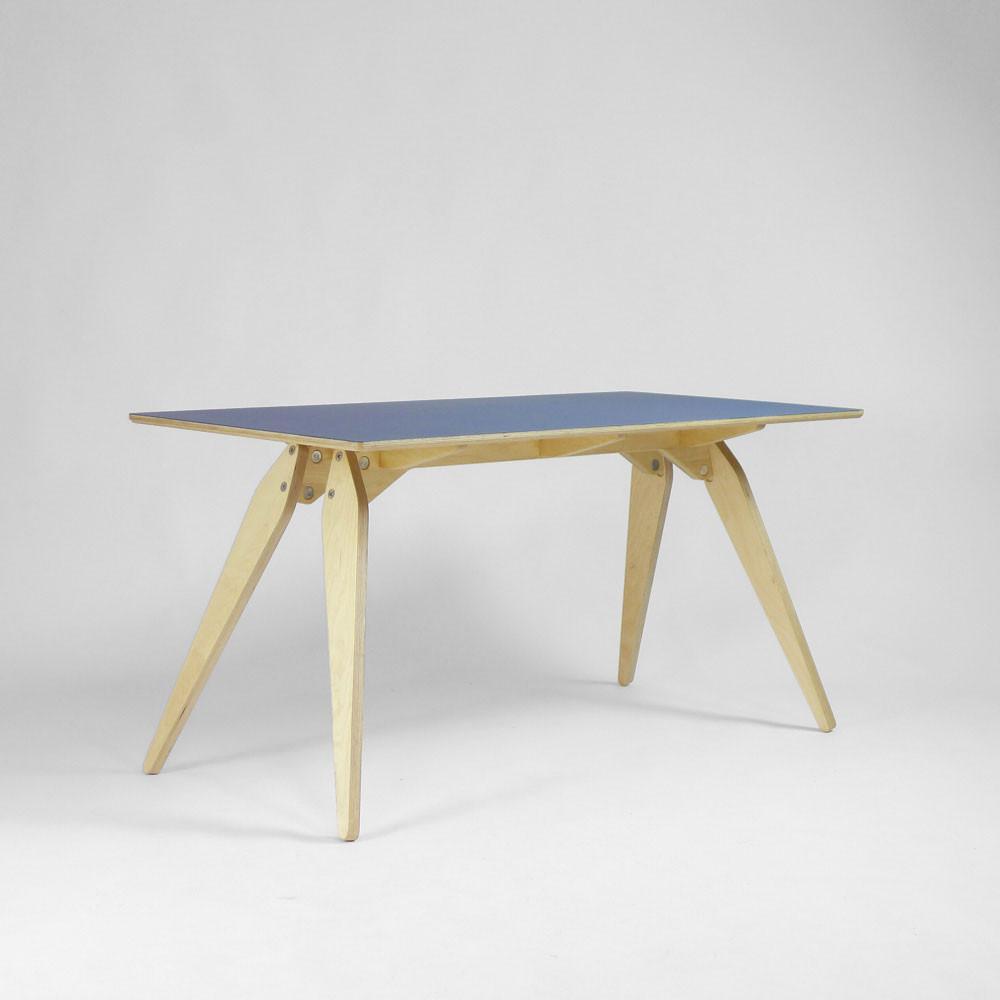 blue plywood desk