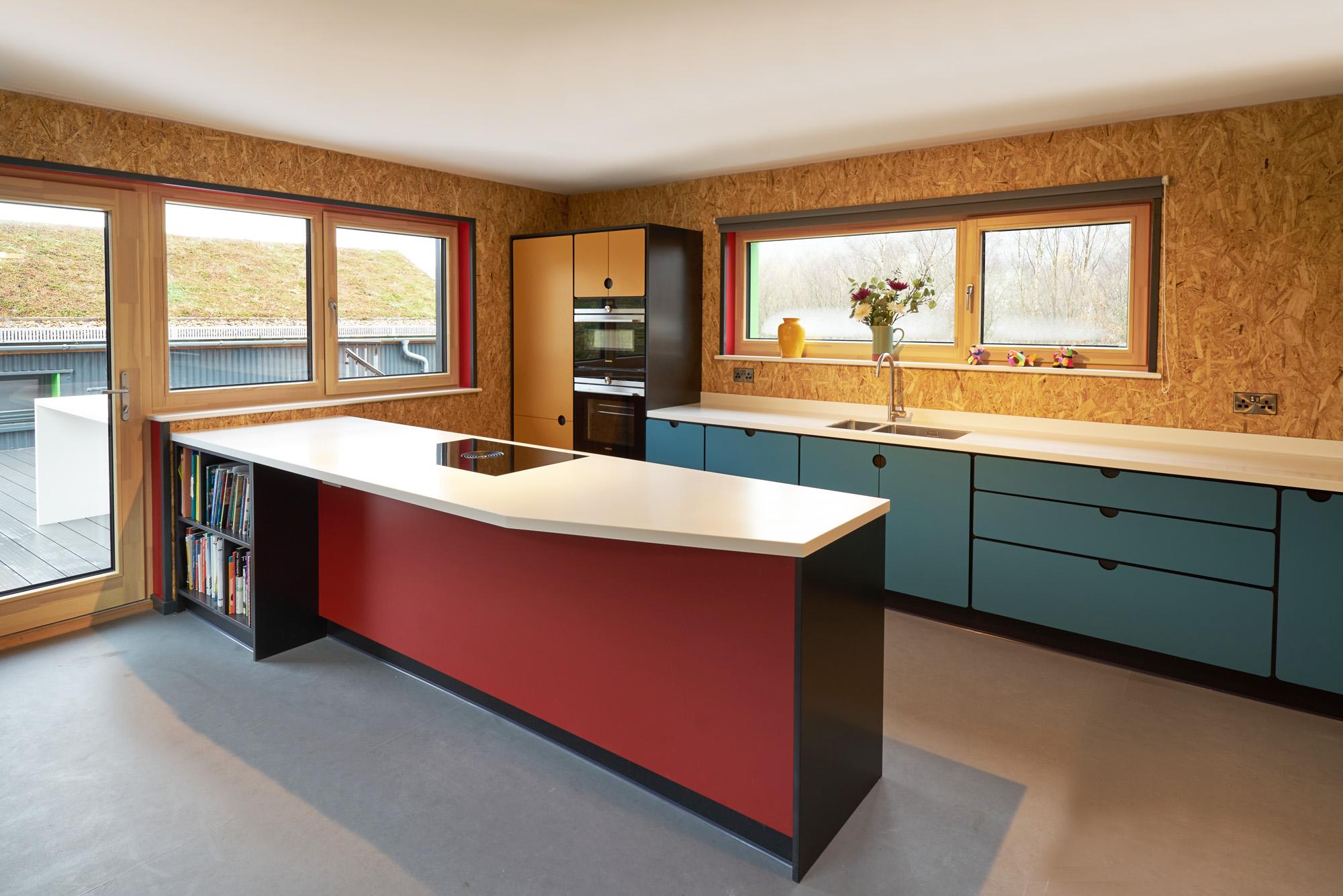 valchromat kitchen blue and red