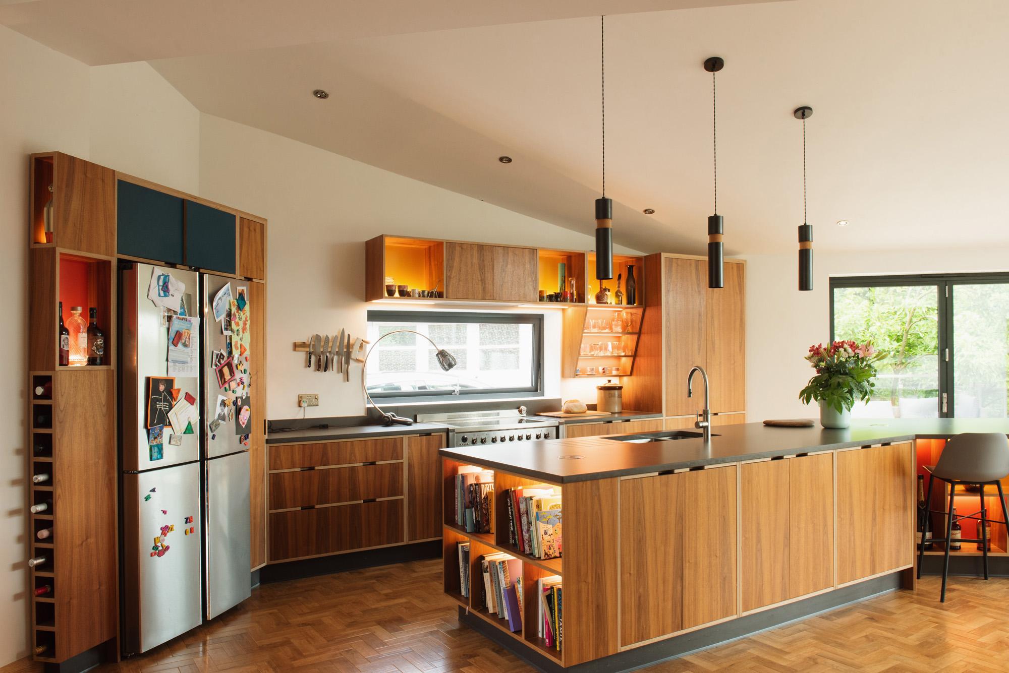 mid century style walnut veneer kitchen with huge island unit