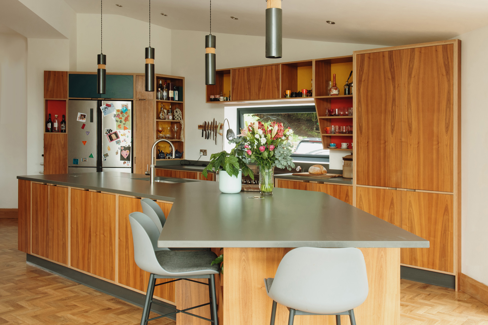 huge angled kitchen island unit