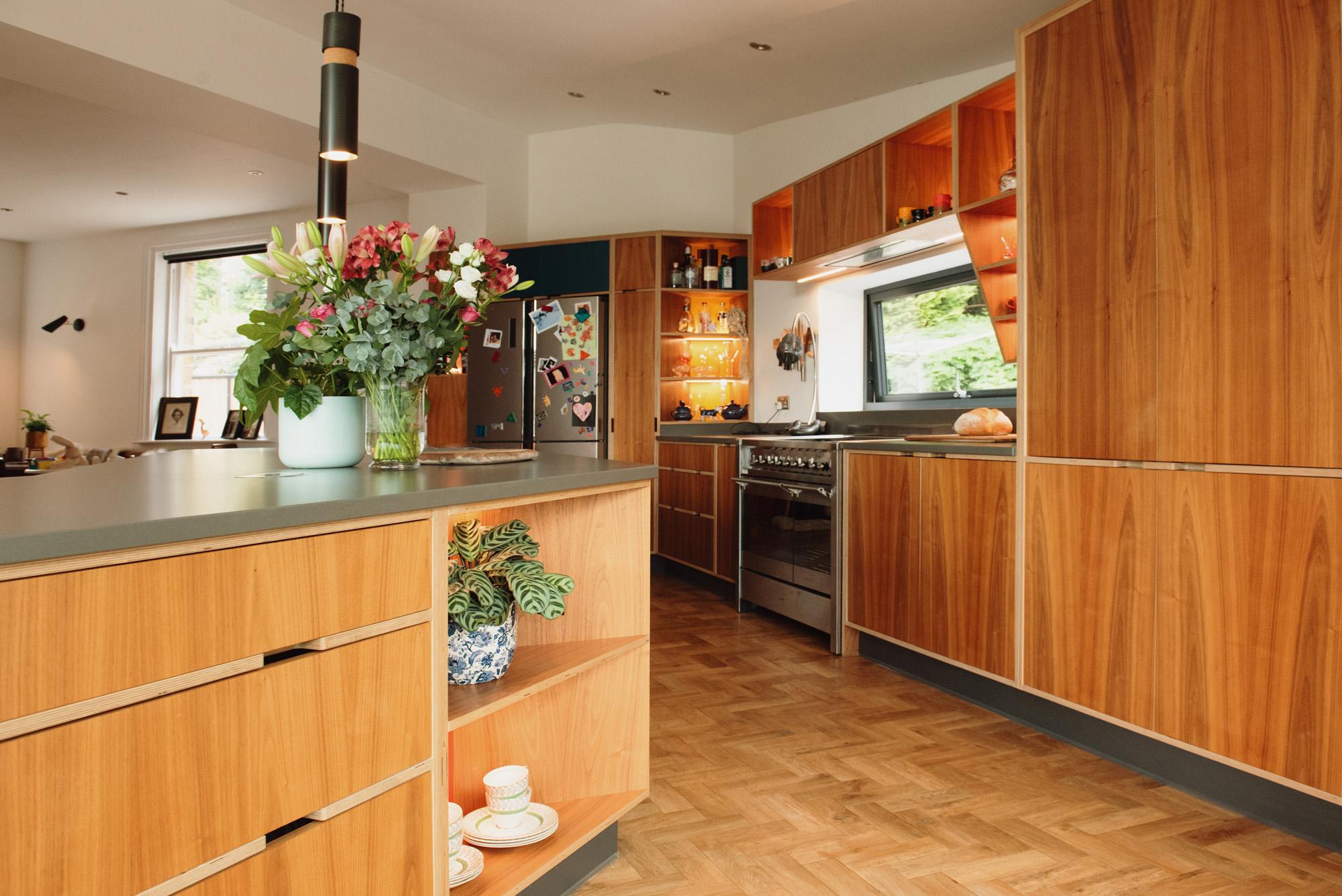 Bespoke plywood kitchen with walnut veneer