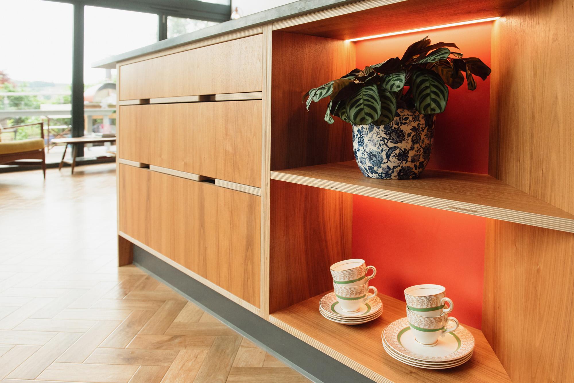 walnut veneered open shelving and drawers