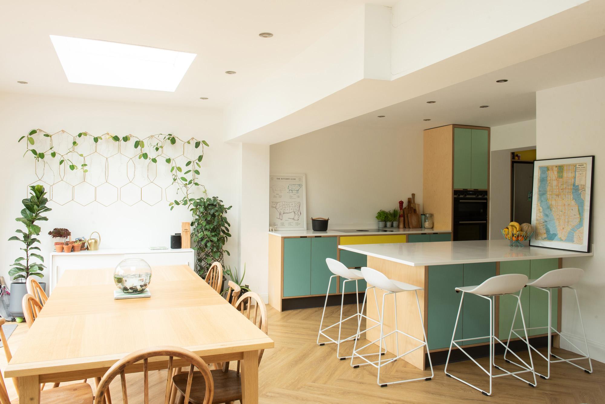 Mint green plywood kitchen