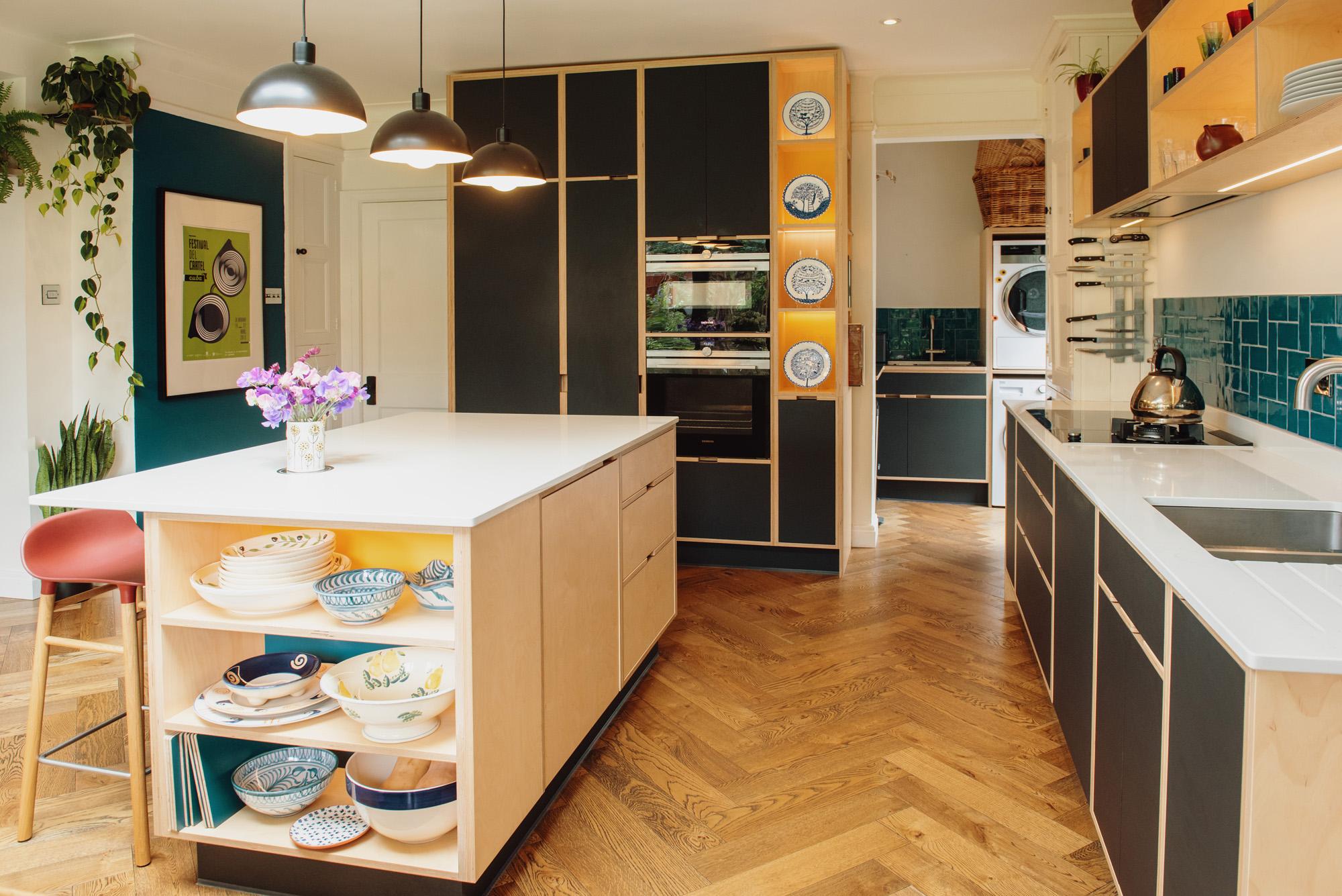 plywood kitchen with parquet flooring