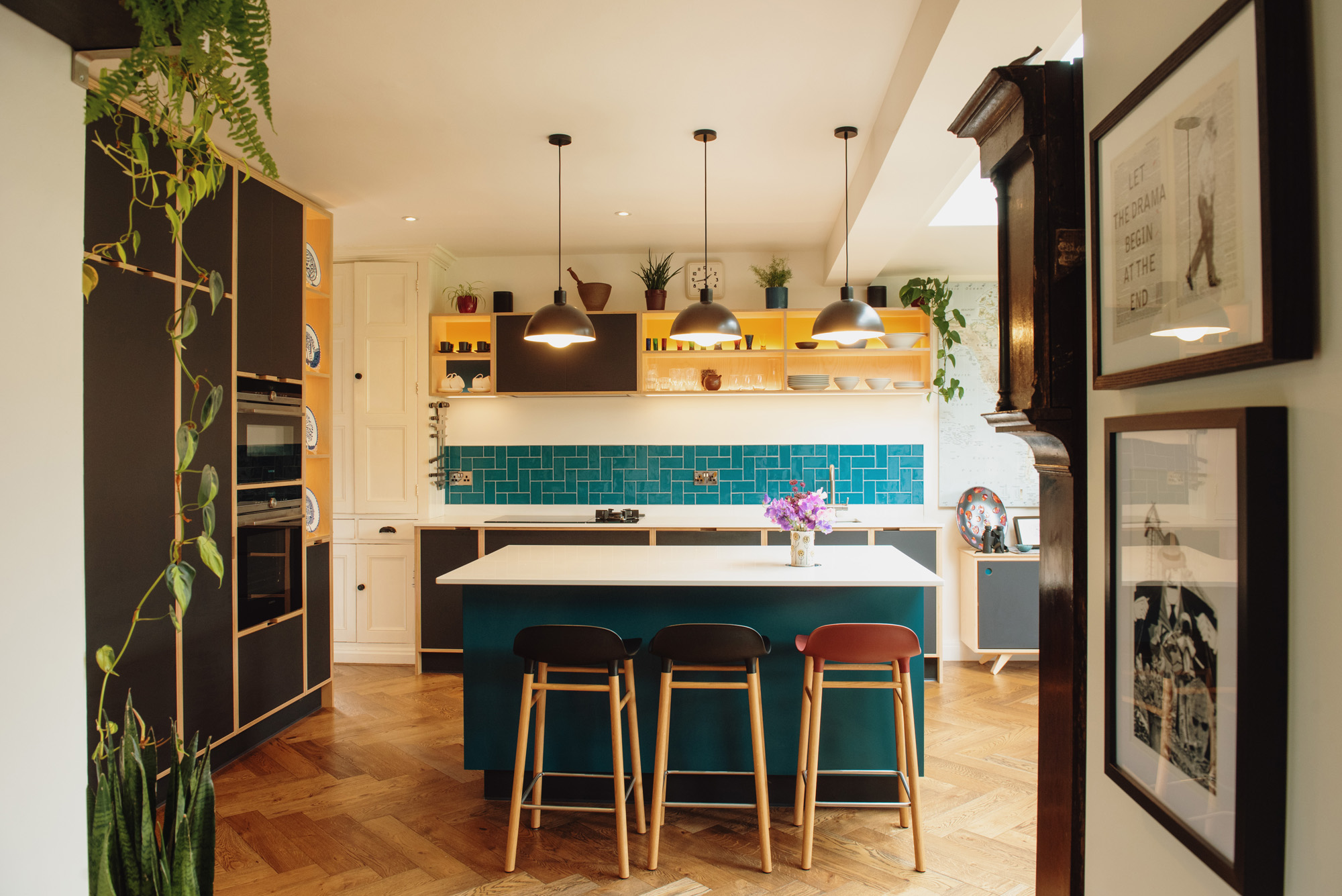 View of colourful kitchen
