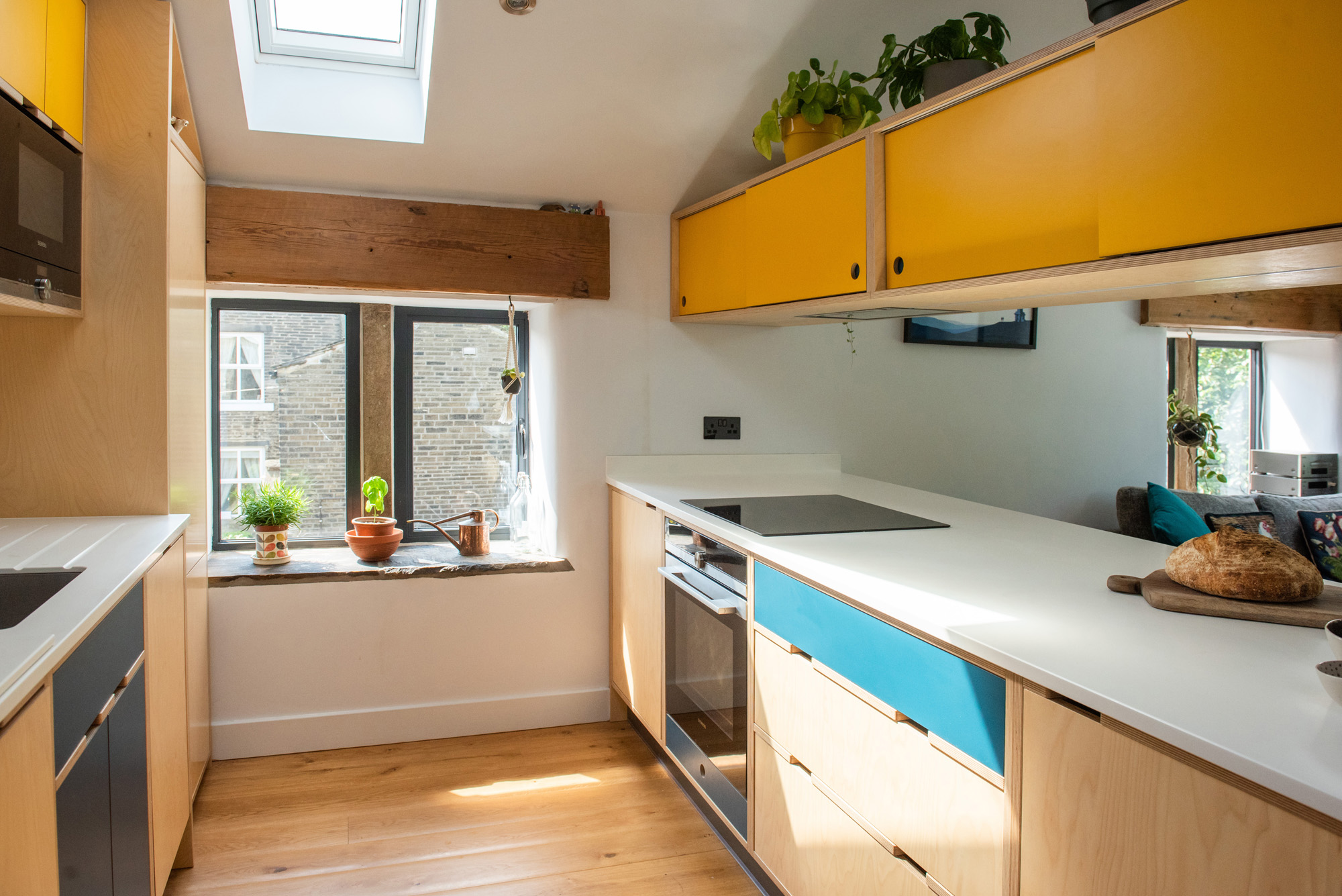 small galley kitchen in converted barn