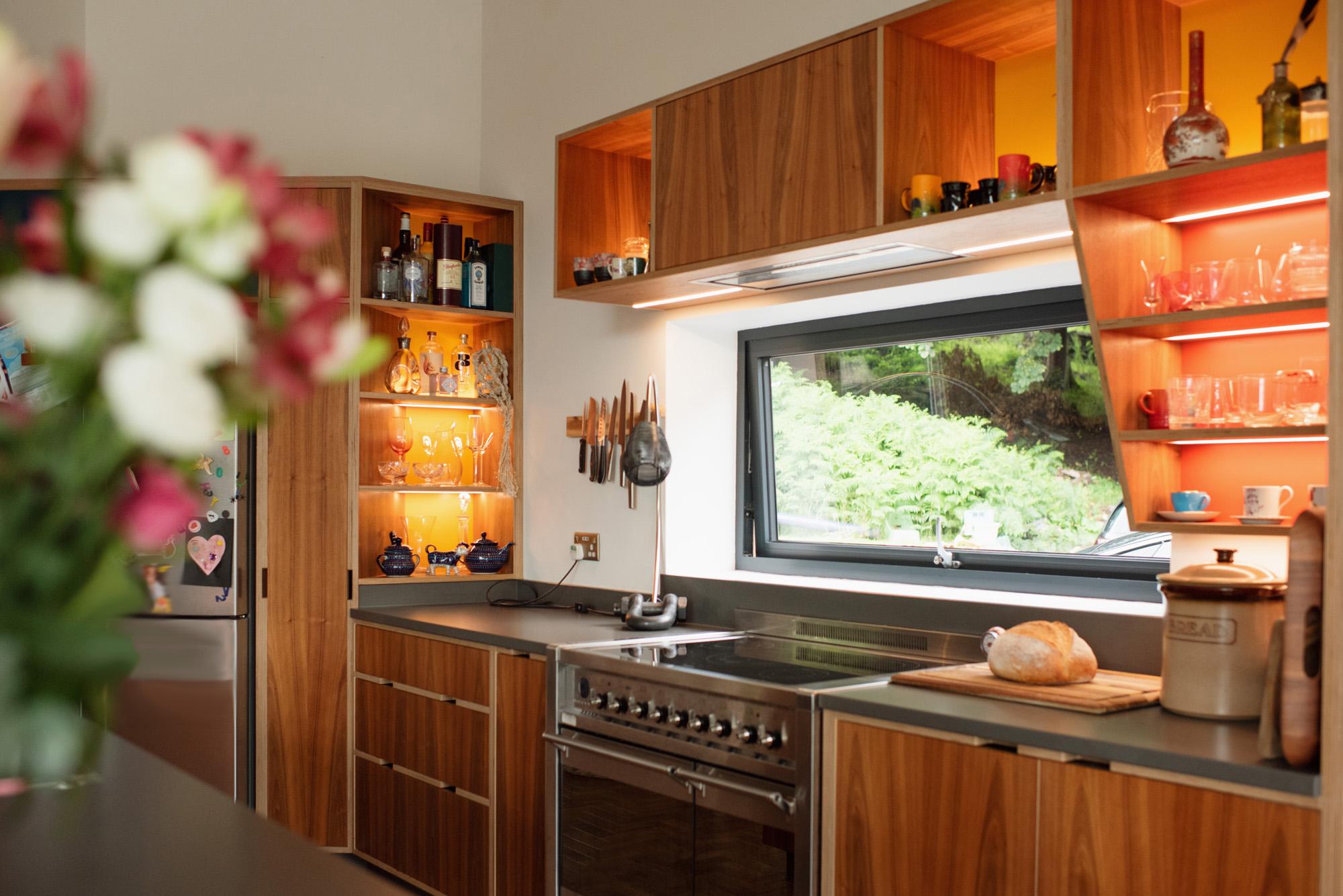 Walnut kitchen with picture window